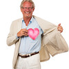 Healthy man holding love heart in front of chest