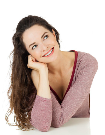 Beautiful woman looking at copy-space
