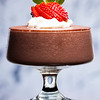 Chocolate mousse with strawberries and cream