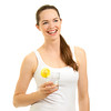 Beautiful woman laughing and holding glass of water