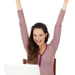 Very hapyy woman using a laptop