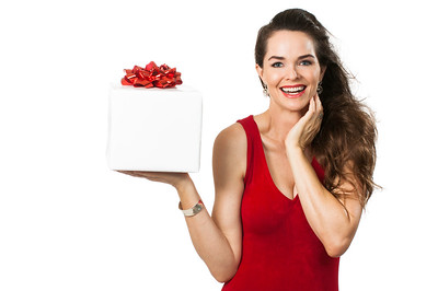 Beautiful woman holding wrapped gift