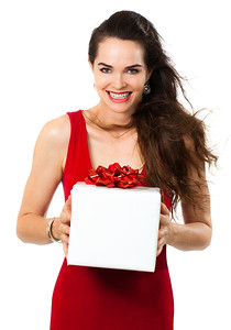 Beautiful happy woman holding gift
