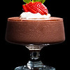 Chocolate mousse dessert with strawberries