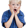 Shocked and surprised young boy