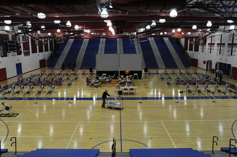Setting up the gymnasium at T.C.Williams High School in Alexandria, Virginia for the 2009 Mid-Atlantic Erg Sprints