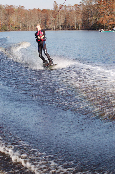 Wakeboarding, barefooting and kneeboarding on the North West River, 11/18/07