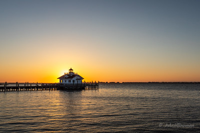 Cloudless Sunrise at Roanoke Marshes Lighthouse, Manteo