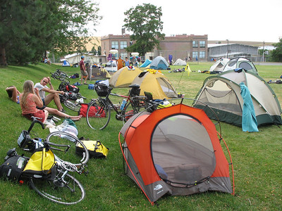 Camping on the football field at Weston school