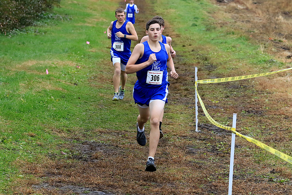 . Mid-Wach A boys cross country championships where held at Hollis Hills Farm in Fitchburg on Thursday afternoon. SENTINEL & ENTERPRISE/JOHN LOVE
