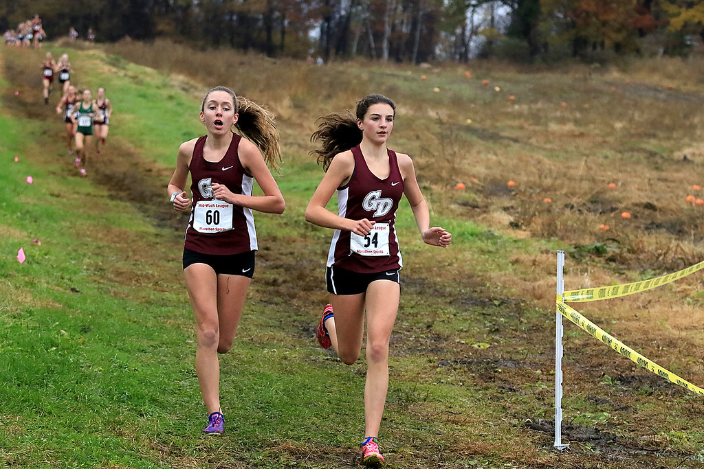. Mid-Wach B girls cross country championships where held at Hollis Hills Farm in fitchburg on Thursday afternoon. Running around the farm land on the first loop is Groton Dunstable Regional High School\'s Sarah Maple and Sydney Adams. SENTINEL & ENTERPRISE/JOHN LOVE