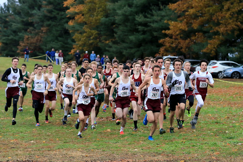 . Mid-Wach B boys cross country championships where held at Hollis Hills Farm in fitchburg on Thursday afternoon. the start of the race. SENTINEL & ENTERPRISE/JOHN LOVE