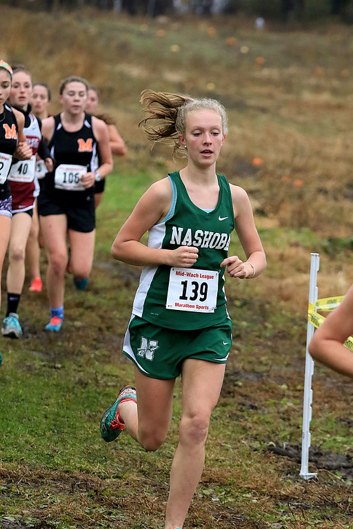 . Mid-Wach B girls cross country championships where held at Hollis Hills Farm in Fitchburg on Thursday afternoon. SENTINEL & ENTERPRISE/JOHN LOVE