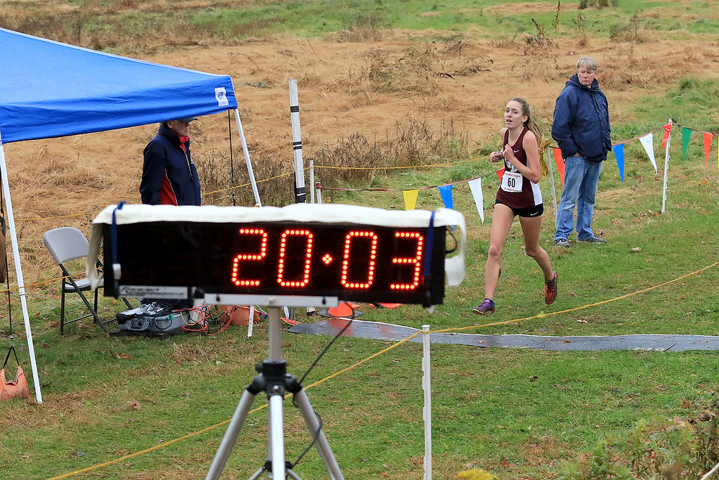 . Mid-Wach B girls cross country championships where held at Hollis Hills Farm in fitchburg on Thursday afternoon. Groton Dunstable Regional High School\'s Sarah Maple come in second in the race. SENTINEL & ENTERPRISE/JOHN LOVE