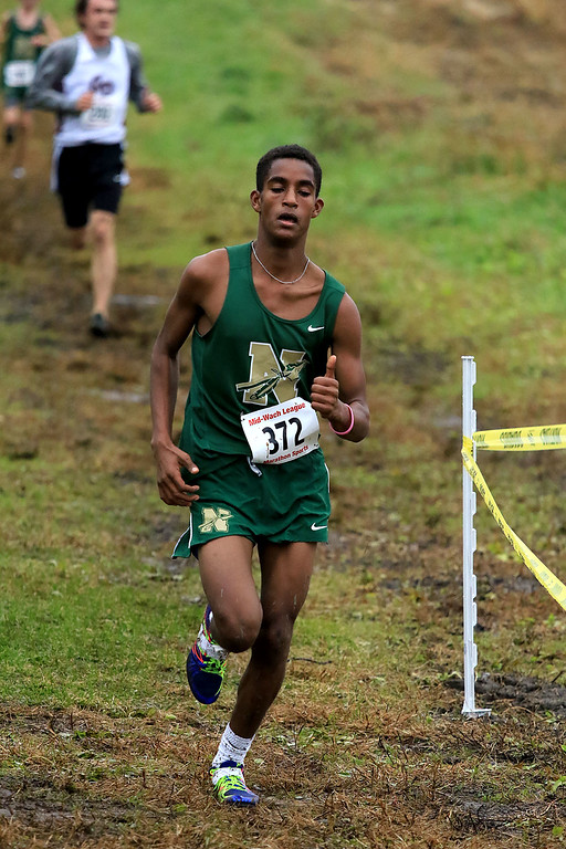 . Mid-Wach B boys cross country championships where held at Hollis Hills Farm in fitchburg on Thursday afternoon. Nashoba Regional High School\'s Ailin Oberlies competes in the race. SENTINEL & ENTERPRISE/JOHN LOVE