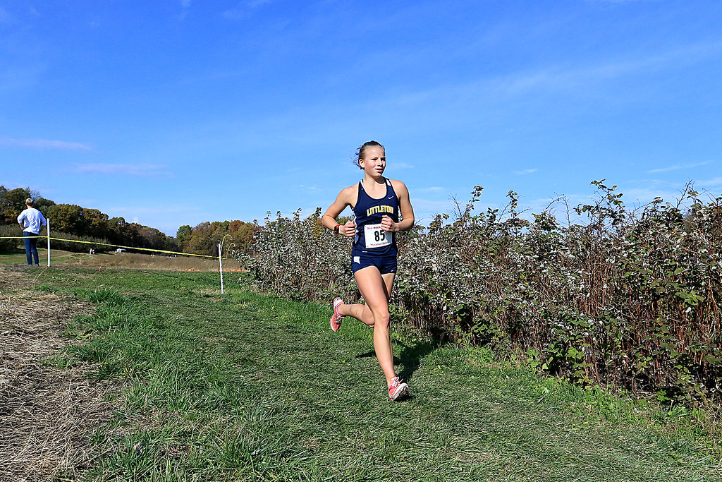 . Mid-Wach D girls cross country championships was held at Hollis Hills Farm in Fitchburg on Wednesday afternoon, October 31, 2018. Littleton High School runner McKenzie Clark competes in the race. SENTINEL & ENTERPRISE/JOHN LOVE