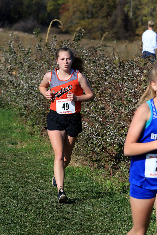 . Mid-Wach D girls cross country championships was held at Hollis Hills Farm in Fitchburg on Wednesday afternoon, October 31, 2018. Gardner High School\'s Leilini Markley competes in the race. SENTINEL & ENTERPRISE/JOHN LOVE