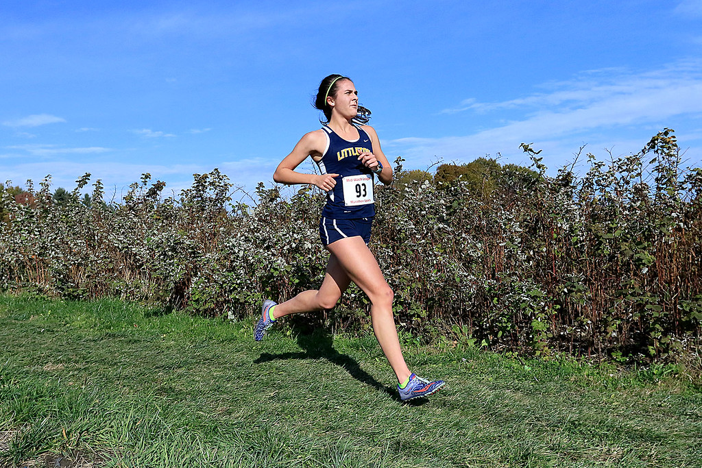 . Mid-Wach D girls cross country championships was held at Hollis Hills Farm in Fitchburg on Wednesday afternoon, October 31, 2018. Littleton High School runner Sarah Roffman competes in the race. SENTINEL & ENTERPRISE/JOHN LOVE