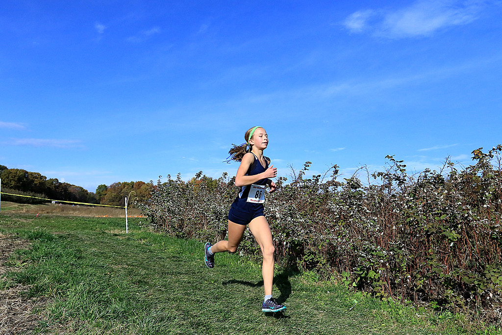 . Mid-Wach D girls cross country championships was held at Hollis Hills Farm in Fitchburg on Wednesday afternoon, October 31, 2018. Littleton High School runner Riley Clark competes in the race. SENTINEL & ENTERPRISE/JOHN LOVE