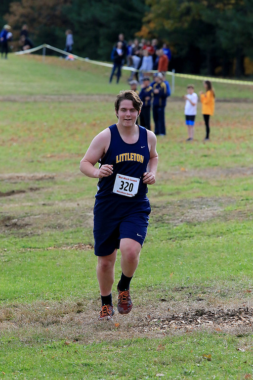 . Mid-Wach D boys cross country championships was held at Hollis Hills Farm in Fitchburg on Wednesday afternoon, October 31, 2018. Littleton High School runner Calvin Rambacher competes in the race. SENTINEL & ENTERPRISE/JOHN LOVE