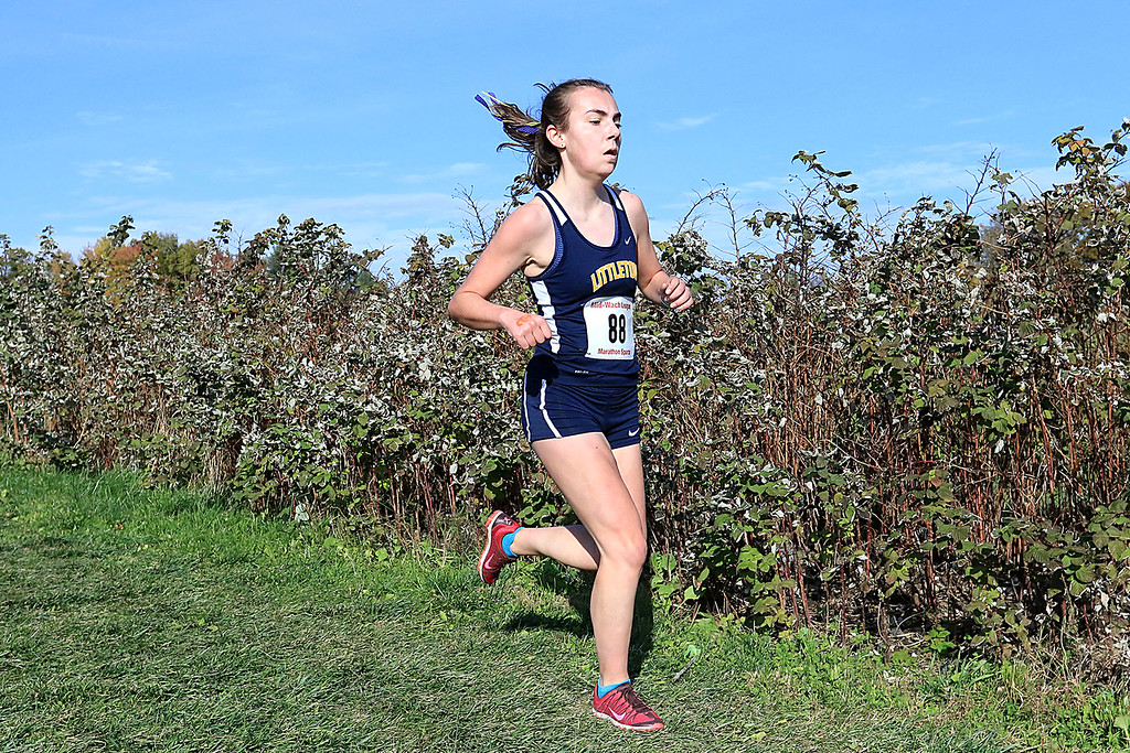 . Mid-Wach D girls cross country championships was held at Hollis Hills Farm in Fitchburg on Wednesday afternoon, October 31, 2018. Littleton High School runner Calli Morvay competes in the race. SENTINEL & ENTERPRISE/JOHN LOVE