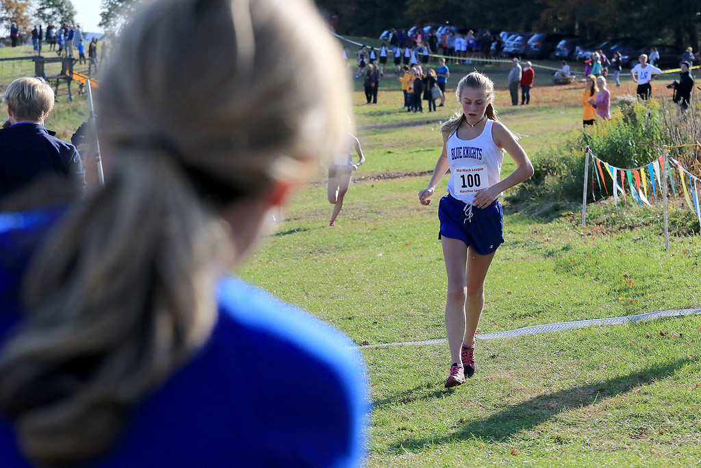 . Mid-Wach D girls cross country championships was held at Hollis Hills Farm in Fitchburg on Wednesday afternoon, October 31, 2018. Lunenburg High Schools Grace Roy finishes the race. SENTINEL & ENTERPRISE/JOHN LOVE
