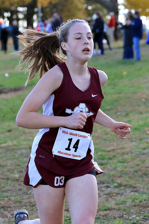 . Mid-Wach E girls cross country championships was held at Hollis Hills Farm in Fitchburg on Wednesday afternoon, October 31, 2018. Ayer Shirley Regional High School runner Mairead Hanley competes in the race. SENTINEL & ENTERPRISE/JOHN LOVE