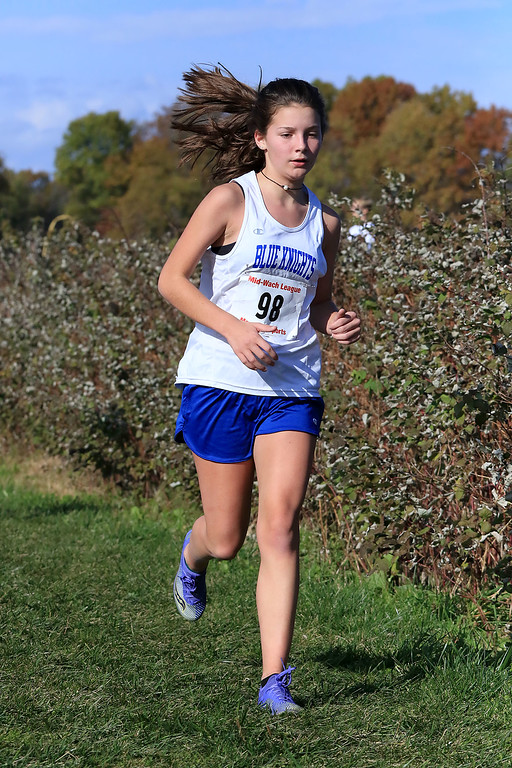 . Mid-Wach D girls cross country championships was held at Hollis Hills Farm in Fitchburg on Wednesday afternoon, October 31, 2018. Lunenburg High School runner Ava Pilon competes in the race. SENTINEL & ENTERPRISE/JOHN LOVE