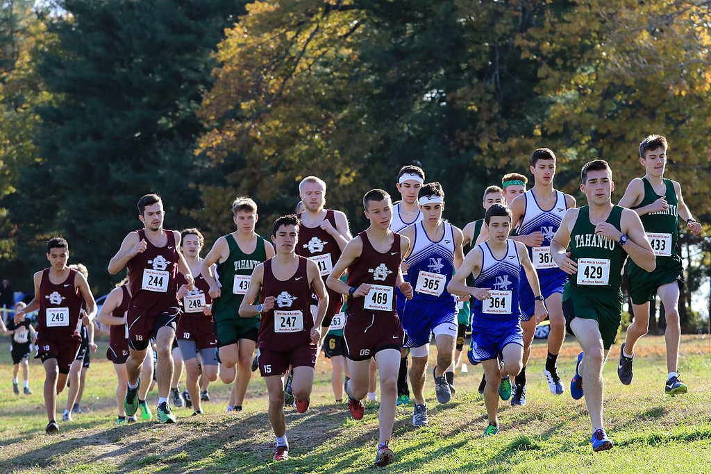 . Mid-Wach E boys cross country championships was held at Hollis Hills Farm in Fitchburg on Wednesday afternoon, October 31, 2018. The Start of the race. SENTINEL & ENTERPRISE/JOHN LOVE