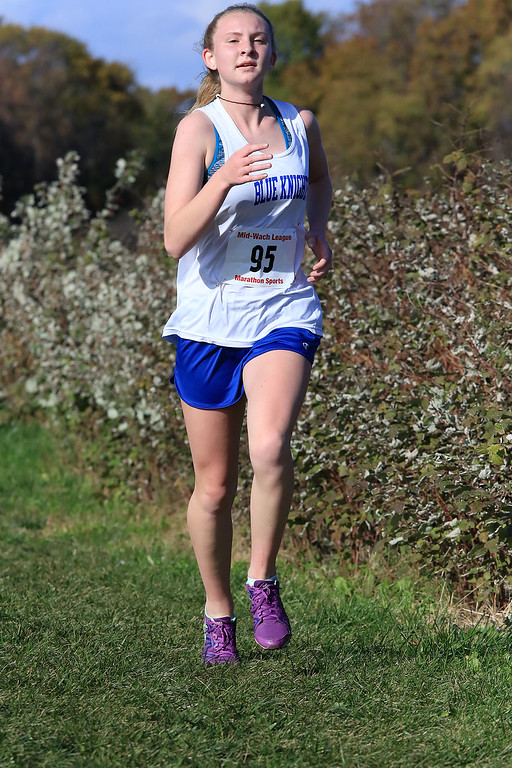. Mid-Wach D girls cross country championships was held at Hollis Hills Farm in Fitchburg on Wednesday afternoon, October 31, 2018. Lunenburg High School runner Keena Kelly competes in the race. SENTINEL & ENTERPRISE/JOHN LOVE