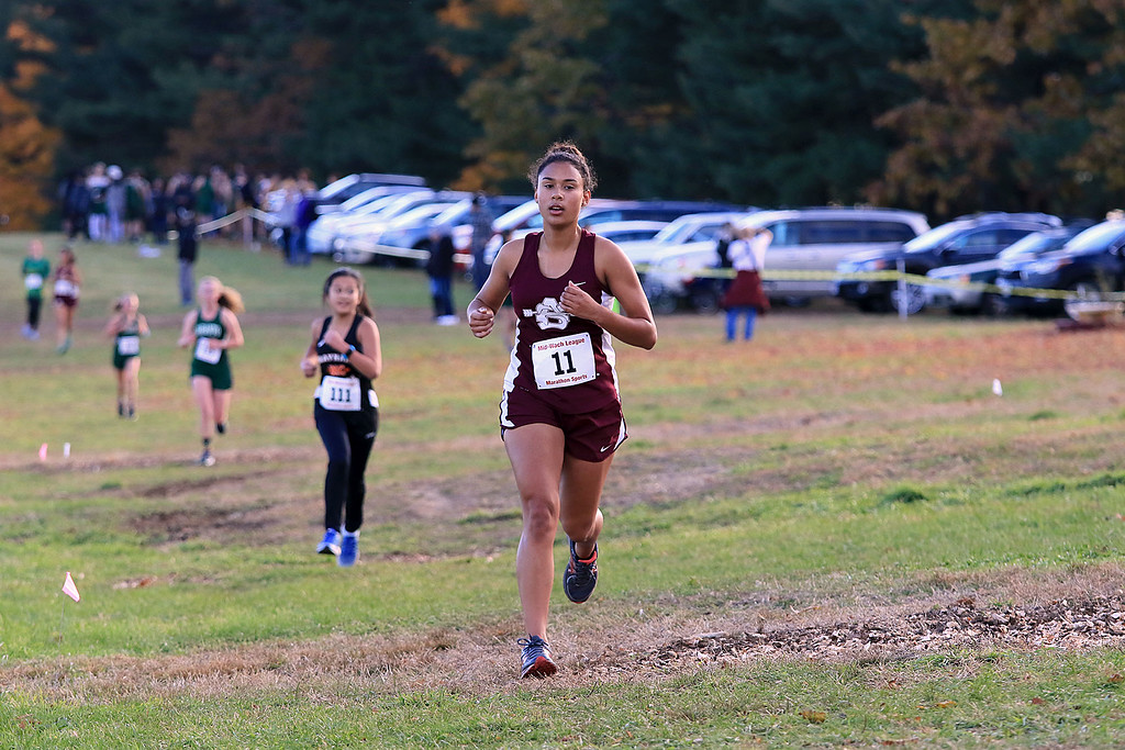 . Mid-Wach E girls cross country championships was held at Hollis Hills Farm in Fitchburg on Wednesday afternoon, October 31, 2018. Ayer Shirley Regional High School runner Nasia Bykov competes in the race. SENTINEL & ENTERPRISE/JOHN LOVE