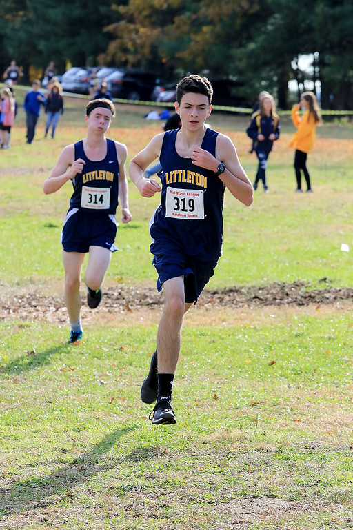 . Mid-Wach D boys cross country championships was held at Hollis Hills Farm in Fitchburg on Wednesday afternoon, October 31, 2018. Littleton High School runner Jack Palaia competes in the race. SENTINEL & ENTERPRISE/JOHN LOVE