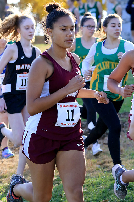 . Mid-Wach E girls cross country championships was held at Hollis Hills Farm in Fitchburg on Wednesday afternoon, October 31, 2018. Ayer Shirley Regional High School runner Nasia Bykov at the start of the race. SENTINEL & ENTERPRISE/JOHN LOVE