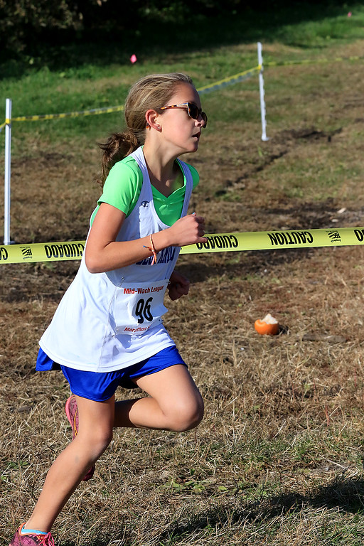 . Mid-Wach D girls cross country championships was held at Hollis Hills Farm in Fitchburg on Wednesday afternoon, October 31, 2018. Lunenburg High School runner Lauren Long competes in the race. SENTINEL & ENTERPRISE/JOHN LOVE