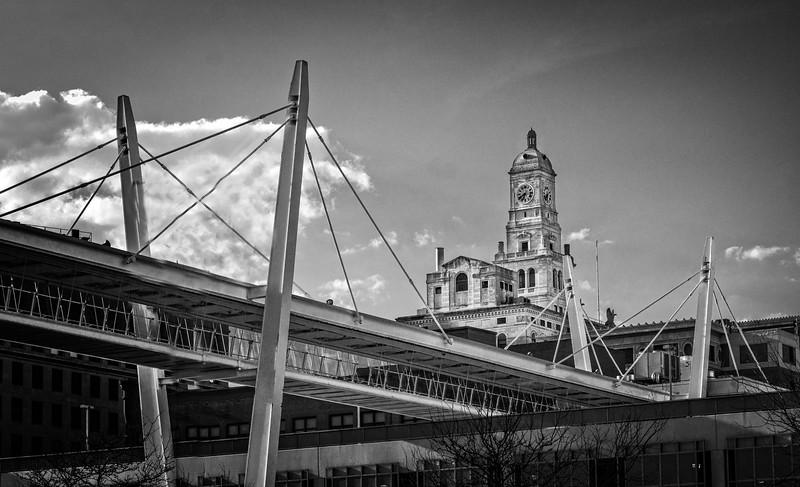 Davenport IA - Crossing Casiono Bridge & city Hall-03070