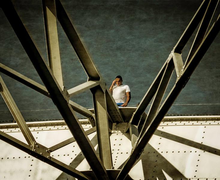 Davenport IA -Man on Cennential Bridge    -