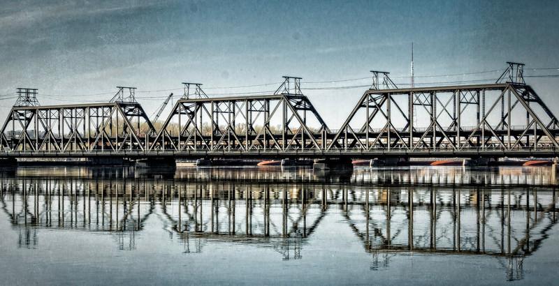 Davenport IA - Reflection of Bridge-
