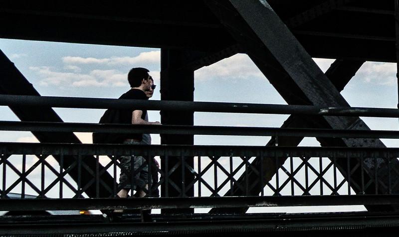 Davenport IA - Couple Walking on the Bridge-