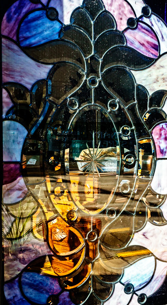 Galesburg IL - View through Stained Glass-00929