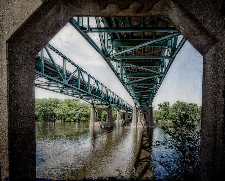 Moline IL - View Under Twin Bridges -