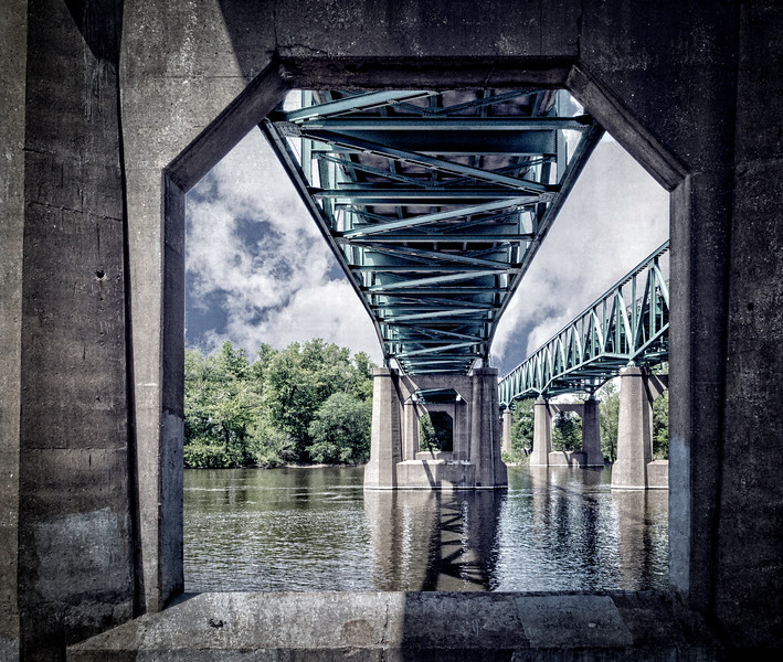 Moline IL - View Under Twin Bridges-03515