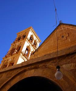dangling light bulb st katherine's monastery