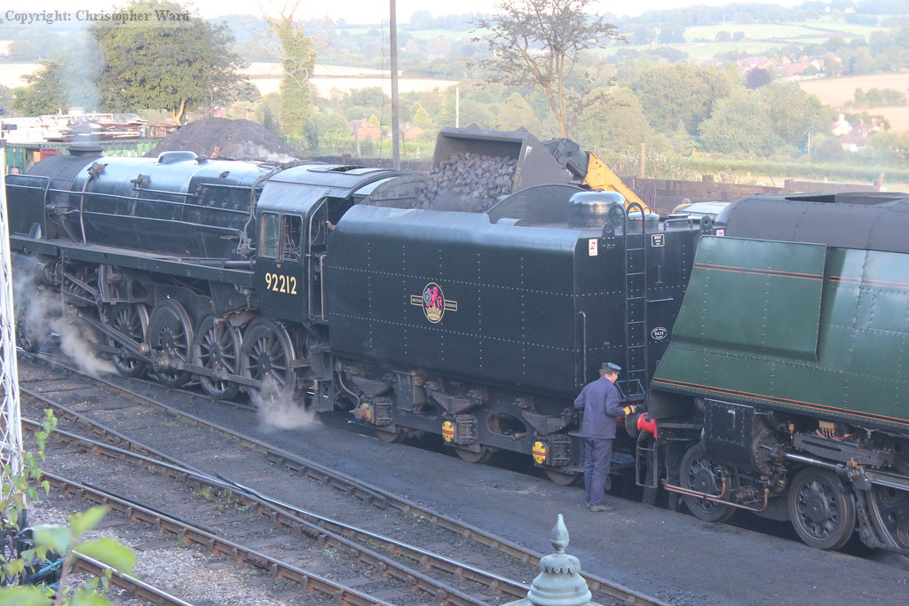 The 9F is coaled as 34007 is uncoupled