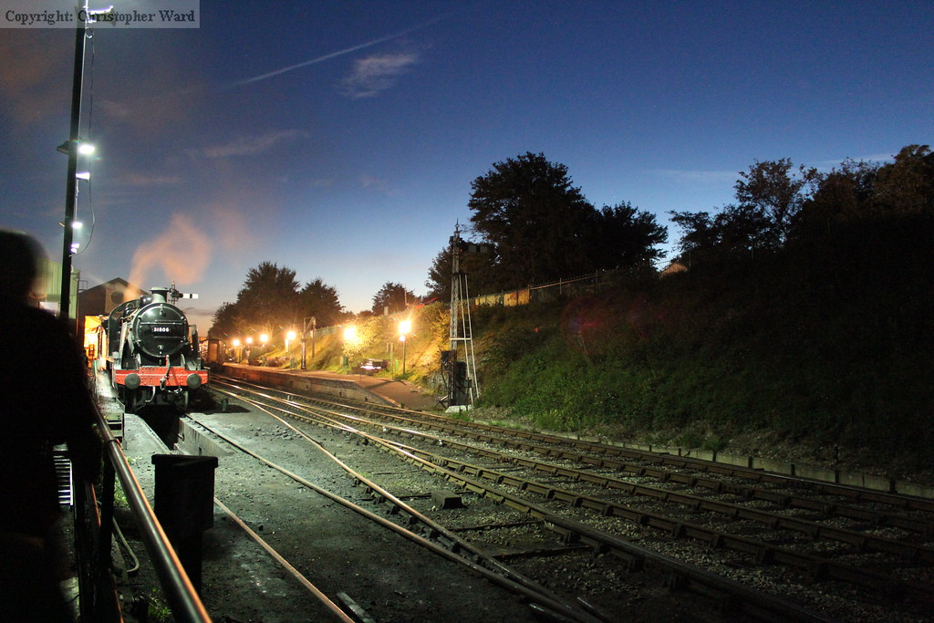 The U class and Ropley station by night