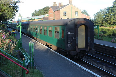 Berthed stock at Ropley to form the first train on Sunday morning