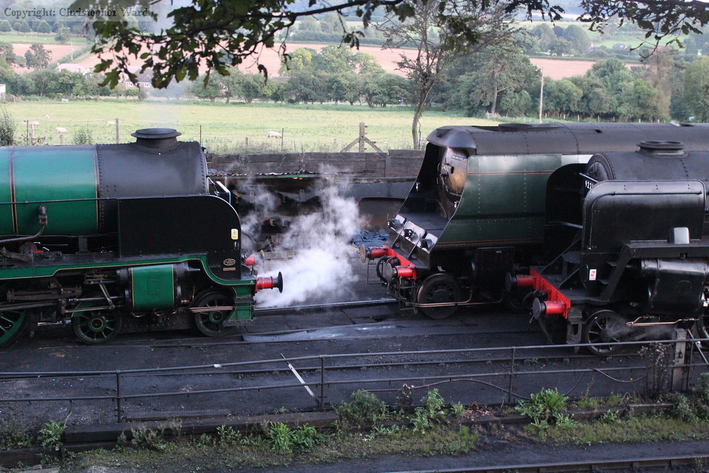 Nelson, Wadebridge and the 9F congregate at the entrance to the yard