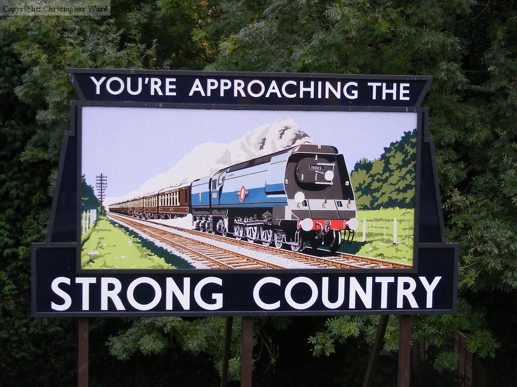 The traditional advertising board at Alton station for Strong & Co brewery
