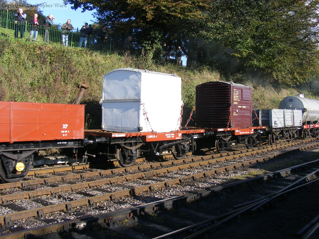 The two conflat wagons on the magnificent demonstration mixed freight train