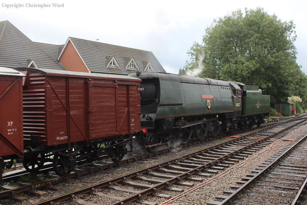 The Bulleid shunts the vans to form the next freight to Alresford. A lowly task for such a machine...