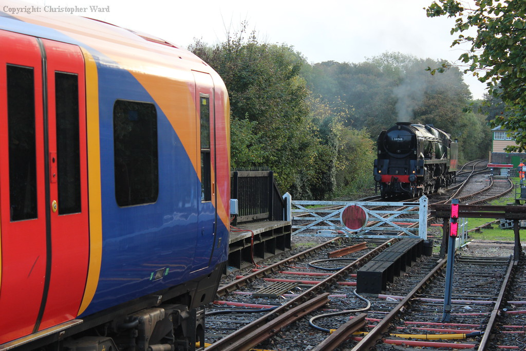 Bournemouth line traction spanning 60 years briefly rubs shoulders at Alton